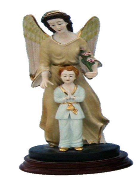 0452/H - Anjo da Guarda com Menino 25cm em Porcelana