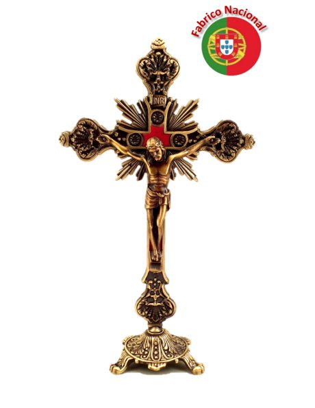 64/5 - Bronze Metal Crucifix w/Base 22cm