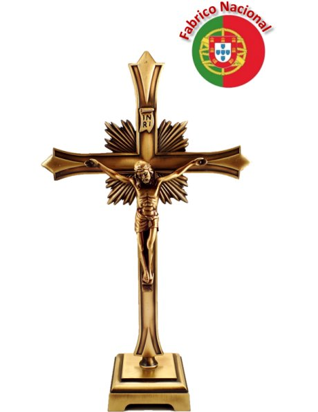 66/5 - Cruz de Metal Cor Bronze com Base 20,50cm