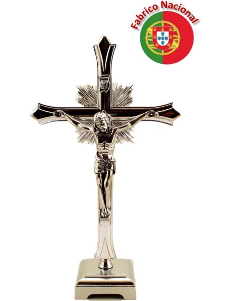 66/1 - Cruz de Metal Cor Prateada com Base 20,50cm