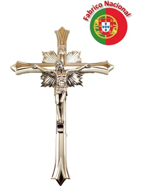 67/1 - Silver Color Metal Crucifix To Hang 19cm