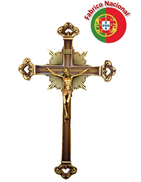 070/5 - Croix a Suspendre em Métal Couleur Bronze 34cm