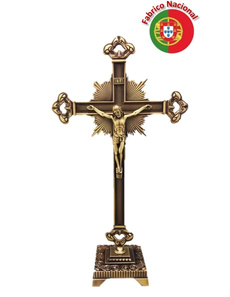 071/5 - Bronze Metal Crucifix w/Base 39cm