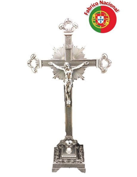 071/1 - Silver Color Metal Crucifix w/Base 39cm