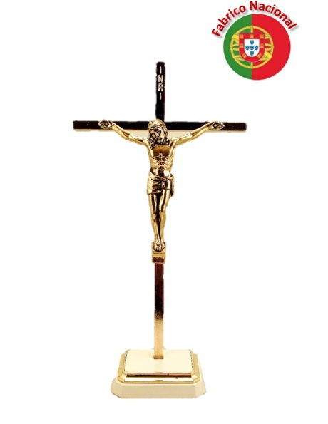 25/3 - Golden Metal Crucifix w/Base 21cm