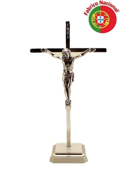 25/1 - Silver Color Metal Crucifix w/Base 21cm