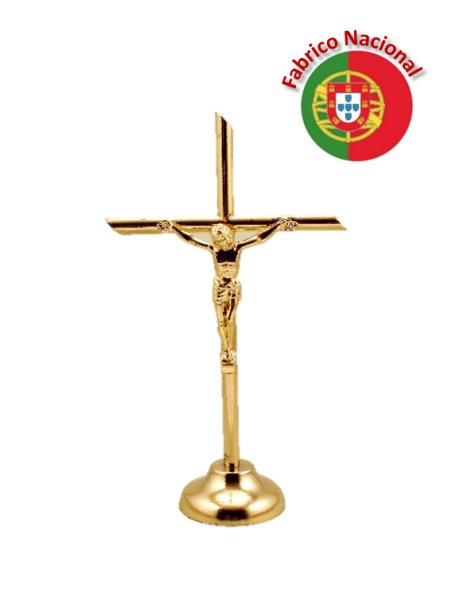 73 - Golden Metal Crucifix w/Base 13cm