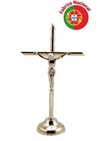 71 - Silver Color Metal Crucifix w/Base 13cm