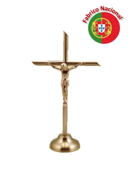 72 - Dim Golden Metal Crucifix w/Base 13cm