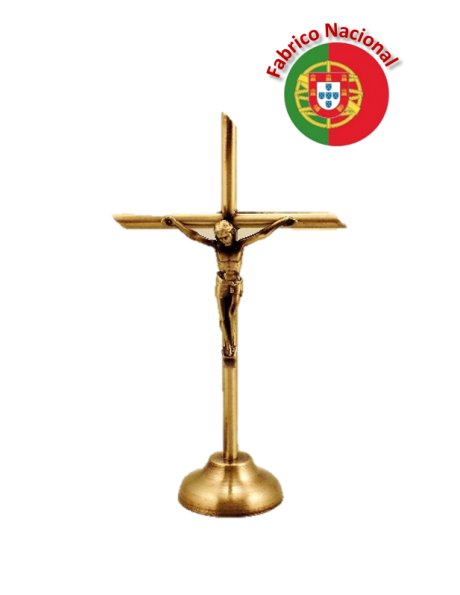 75 - Cruz de Metal Cor Bronze com Base 13cm