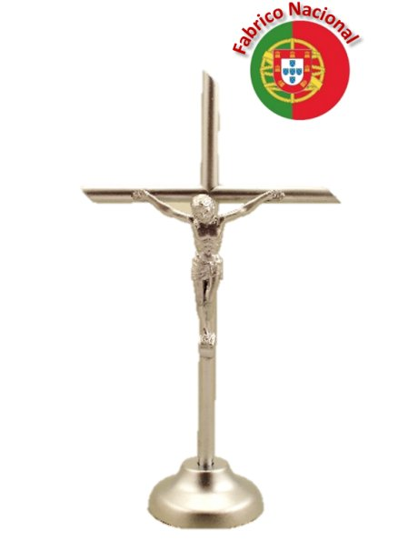 77 - Dim Silver Color Metal Crucifix w/Base 13cm