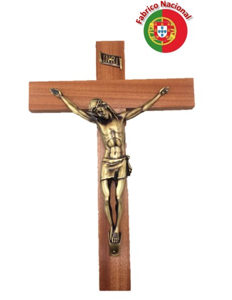 FX3 - Wall Wood Crucifix 33cm w/Metal Christ