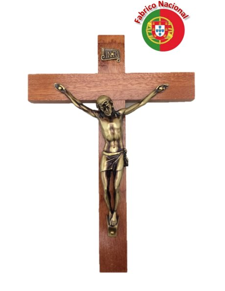 FX2 - Wall Wood Crucifix 21cm w/Metal Christ