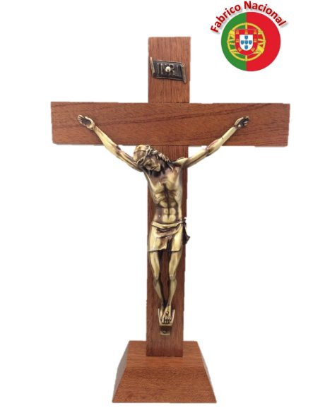 FX3/P - Wood Crucifix 33cm w/Base and Metal Christ