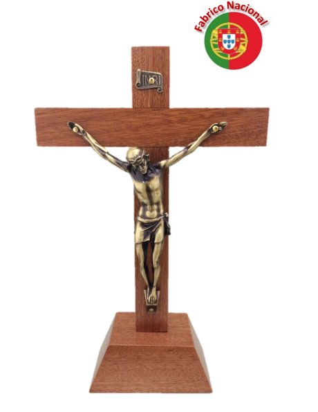 FX2/P - Wood Crucifix 21cm w/Base and Metal Christ