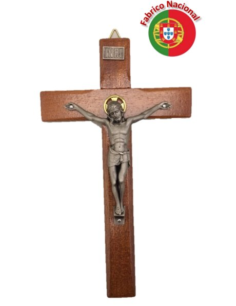 400 - Wall Wood Crucifix 20cm w/Dark Metal Christ