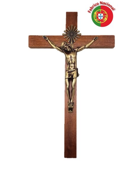 120 - Wall Wood Crucifix 42cm w/Metal Christ