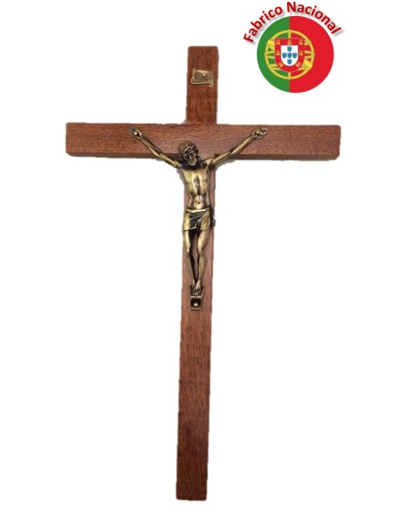 119 - Wall Wood Crucifix 35cm w/Metal Christ