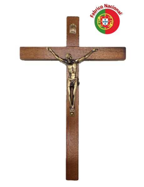 118 - Wall Wood Crucifix 28cm w/Metal Christ