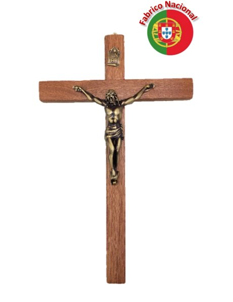 117 - Wall Wood Crucifix 23cm w/Metal Christ