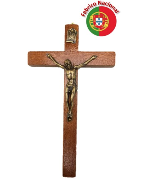 116 - Wall Wood Crucifix 18cm w/Metal Christ
