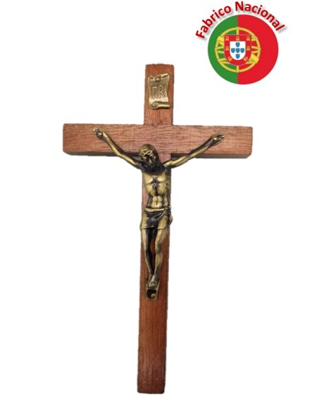 099 - Croix em Bois a Suspendre 15cm a/Christ en Métal