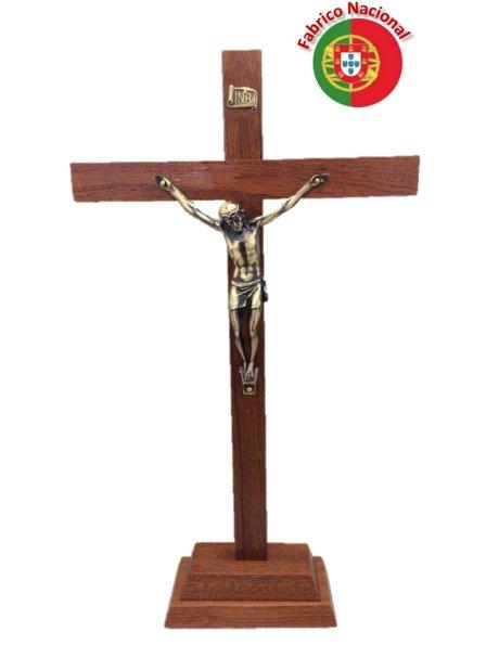 109 - Croix em Bois 37cm a/Base et Christ en Métal