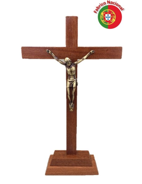 108 - Croix em Bois 30cm a/Base et Christ en Métal
