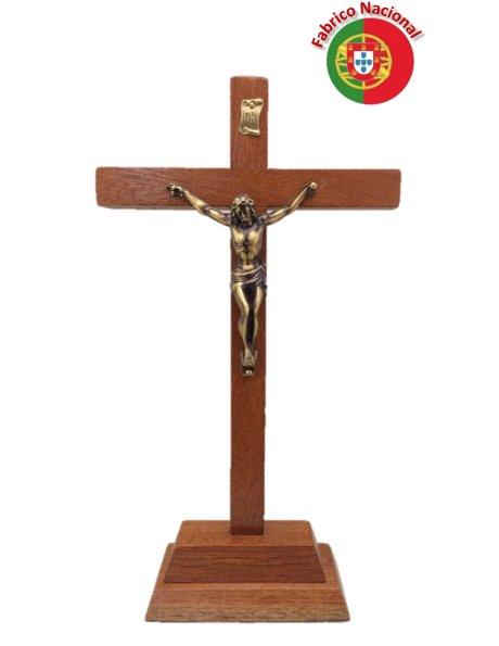 107 - Croix em Bois 25cm a/Base et Christ en Métal