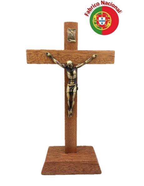 140 - Croix em Bois 18cm a/Base et Christ en Métal