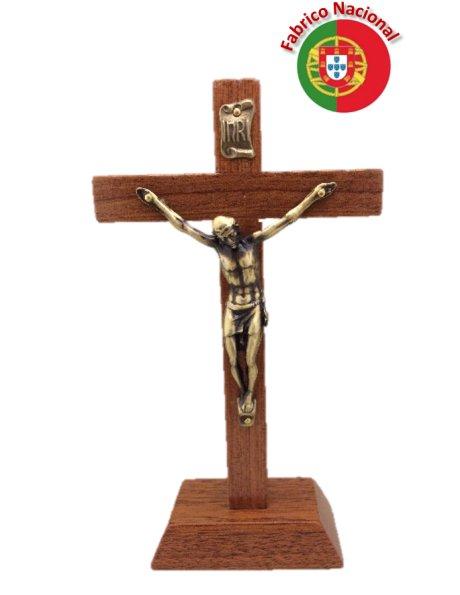 132 - Croix em Bois 16cm a/Base et Christ en Métal