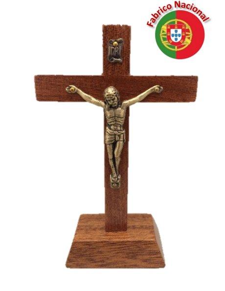 134 - Croix em Bois 11cm a/Base et Christ en Métal