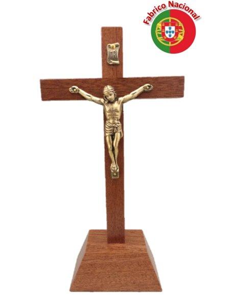 262/P - Croix em Bois 18cm a/Base et Christ en Métal