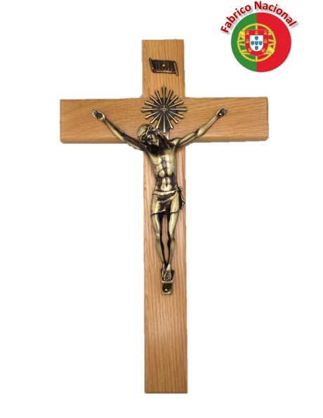 159 - Wall Wood Crucifix 42cm w/Metal Christ