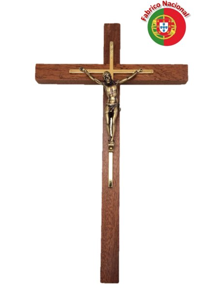 139 - Wall Wood Crucifix 35cm w/Metal Christ
