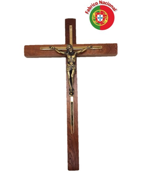 137 - Wall Wood Crucifix 28cm w/Metal Christ