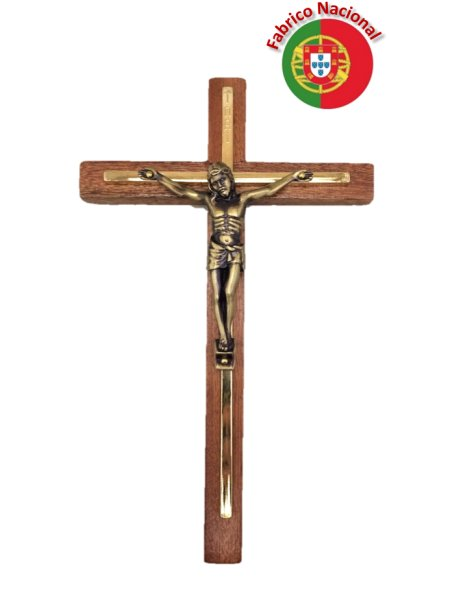 131 - Wall Wood Crucifix 23cm w/Metal Christ