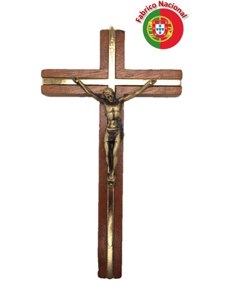 121 - Wall Wood Crucifix 18cm w/Metal Christ