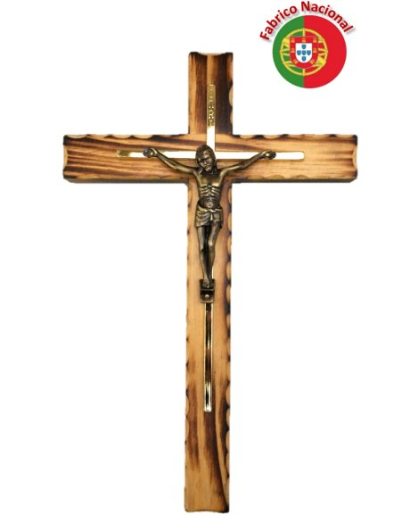 112 - Wall Wood Burnt Pine Crucifix 27cm w/Metal Christ