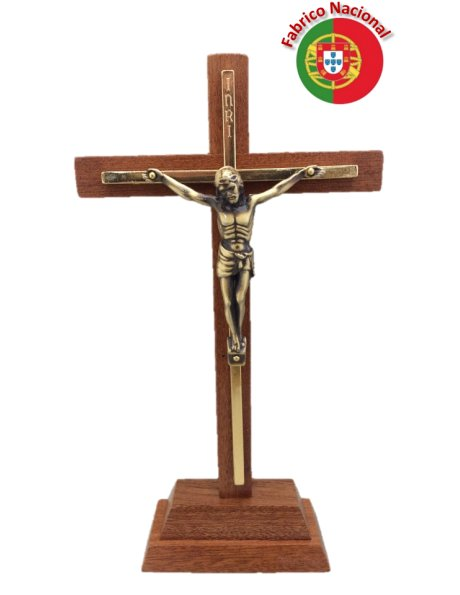 143 -  Wood Crucifix 27cm w/Base and Metal Christ