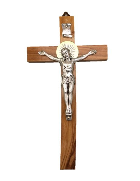 COV20 - Wall Wood Crucifix 20cm w/Metal Christ
