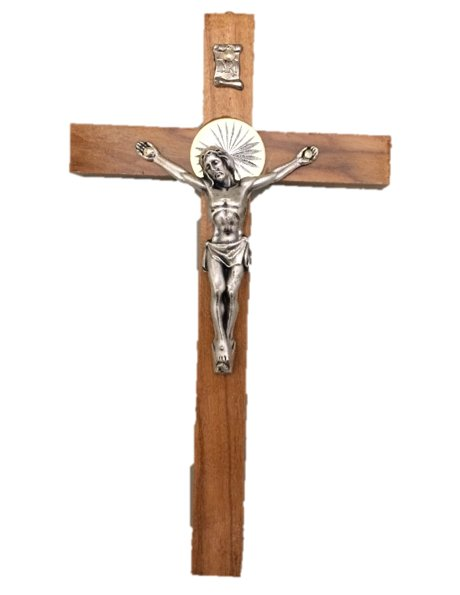 COV15 - Wall Wood Crucifix 15cm w/Metal Christ