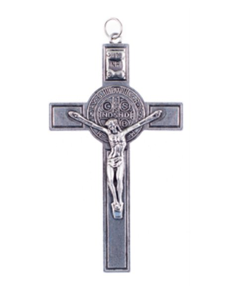 K1584 - Silver Color S. Benedict Metal Crucifix 6,50cm