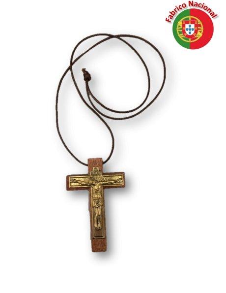 155 - Collier a/Croix en Bois 8x5,50cm et Christ en Métal