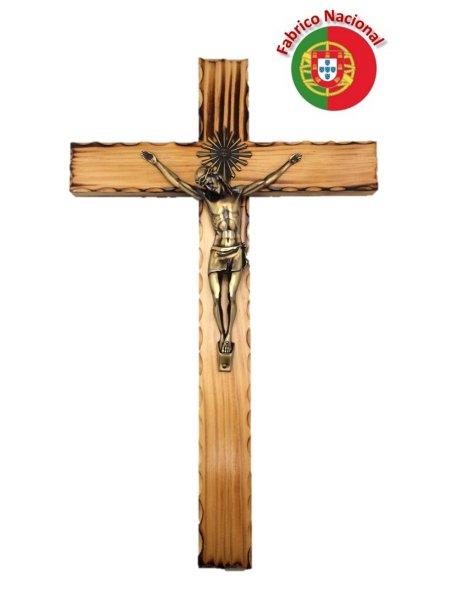 115 - Croix em Bois Pin Brûlé 50cm a/Christ en Métal