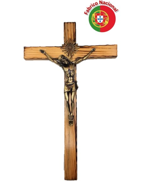 114 - Wall Wood Burnt Pine Crucifix 45cm w/Metal Christ