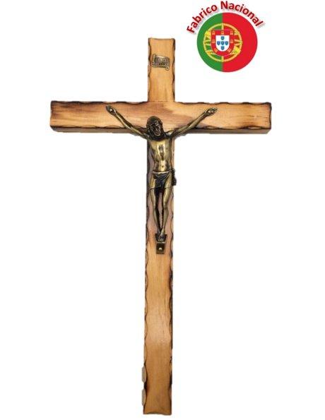 113 - Wall Wood Burnt Pine Crucifix 35cm w/Metal Christ