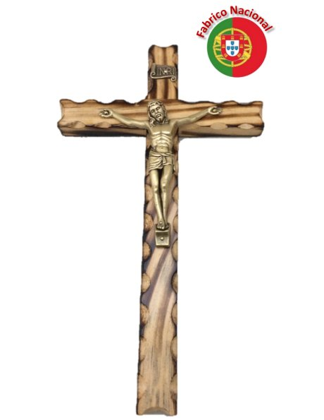R/237 - Wall Wood Burnt Pine Crucifix 23cm w/Metal Christ