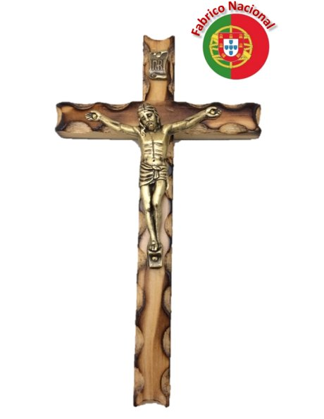 R/242 - Wall Wood Burnt Pine Crucifix 18cm w/Metal Christ