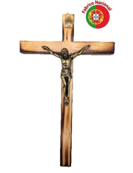111 - Wall Wood Burnt Pine Crucifix 23cm w/Metal Christ